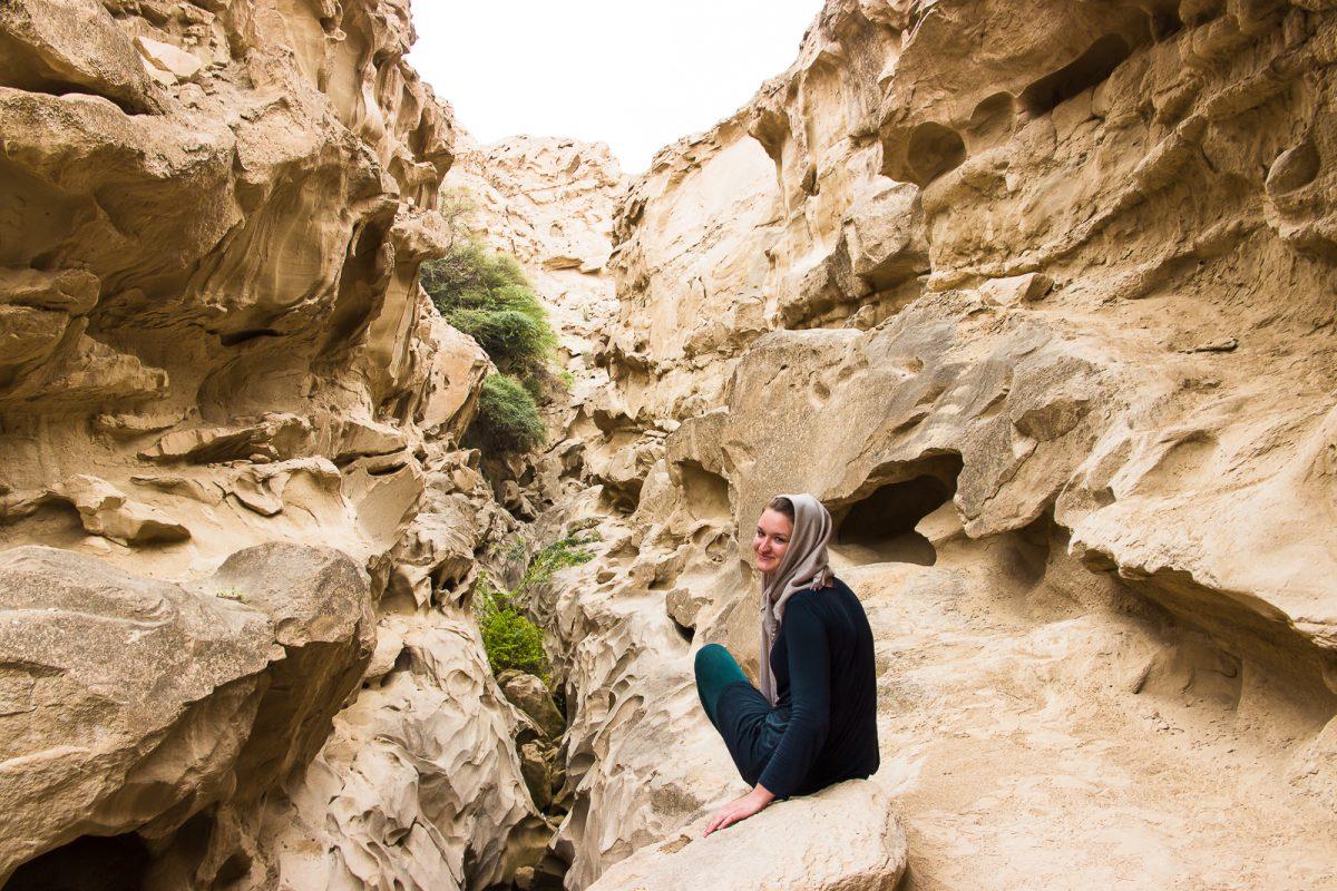 Girl in Chahkooh Valley on Qeshm Island Iran