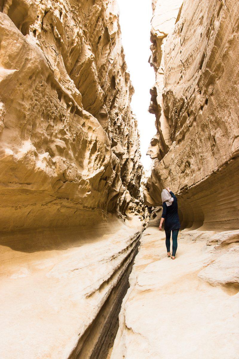 Girl walking in Chahkooh Valley on Qeshm Island Iran