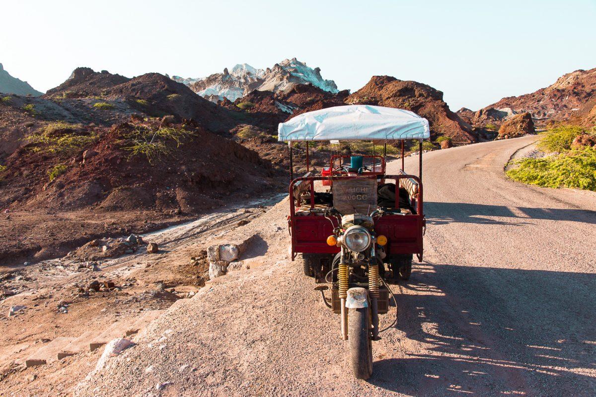 TukTuk Hormuz Red Landscape Qeshm Island Iran