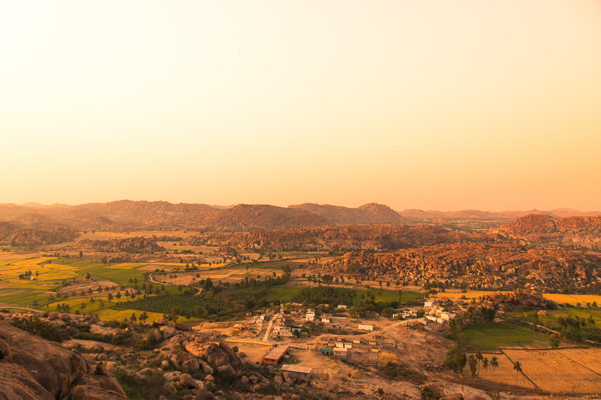 Things to do in Hampi: View from the Hanuman Temple at Sun Set