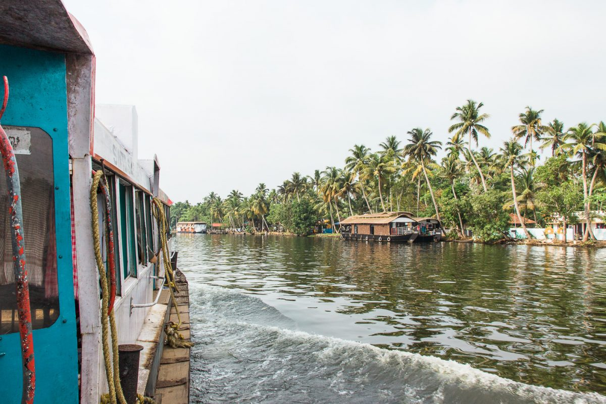 Public Ferry through Kerala Backwaters in Alleppey