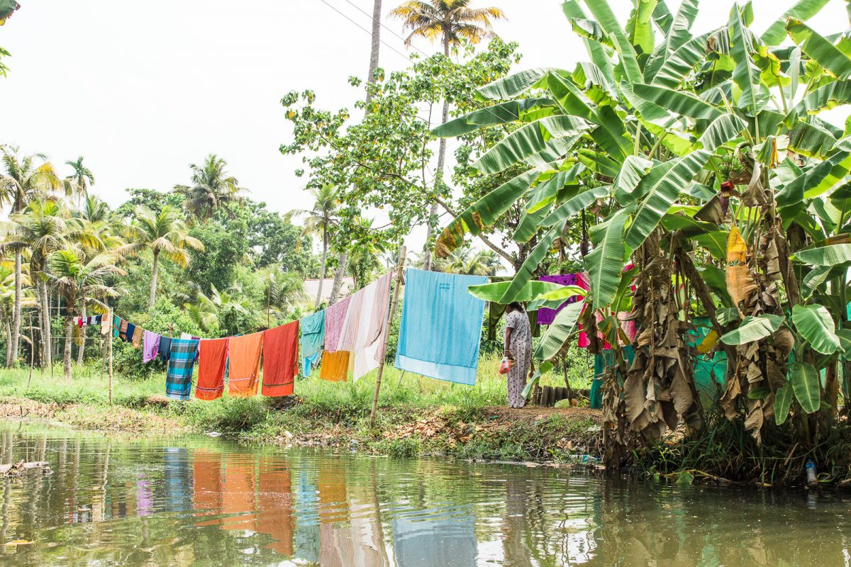 Laundry drying - Alleppey Boat Tour through the Backwaters