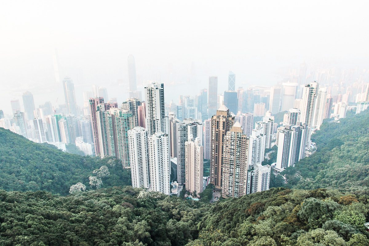 View from Victoria Peak in Hong Kong. A view filled with Hong Kong's typical skyscapers.