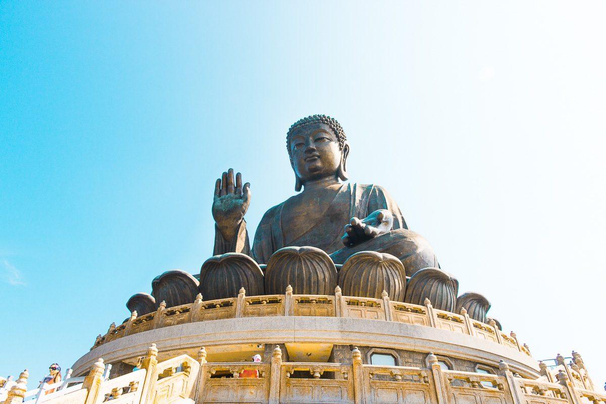 Hong Kong's Big Buddha on top of the hill.