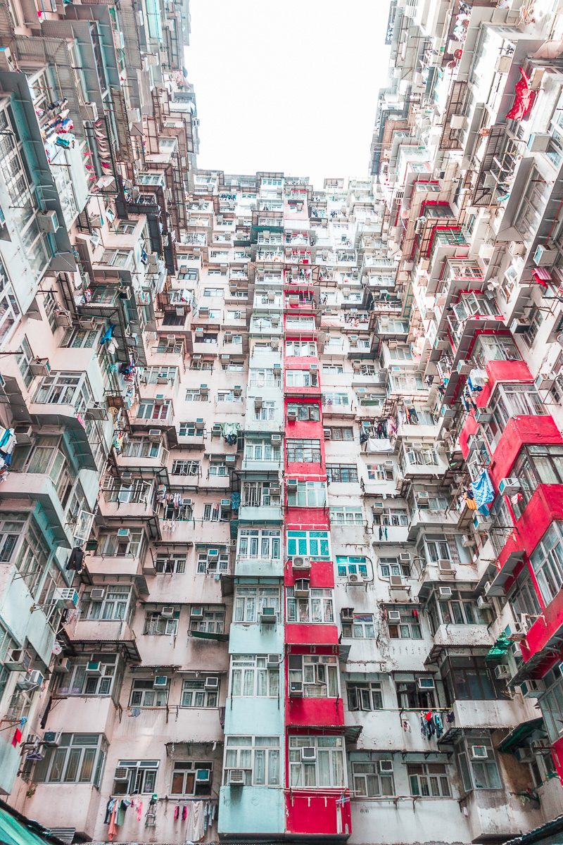 Iconic Yik Cheong apartment building in Hong Kong, famous on Instagram.