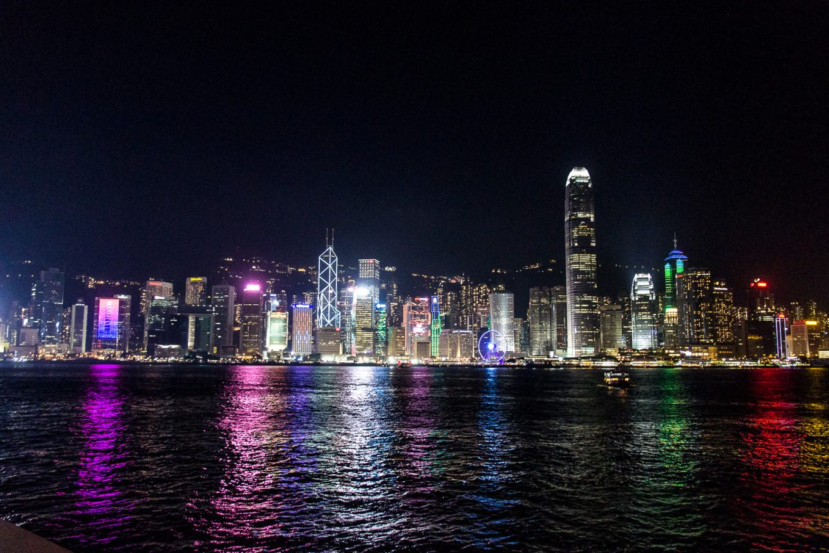 Hong Kong's skyline at night during the daily lightshow.