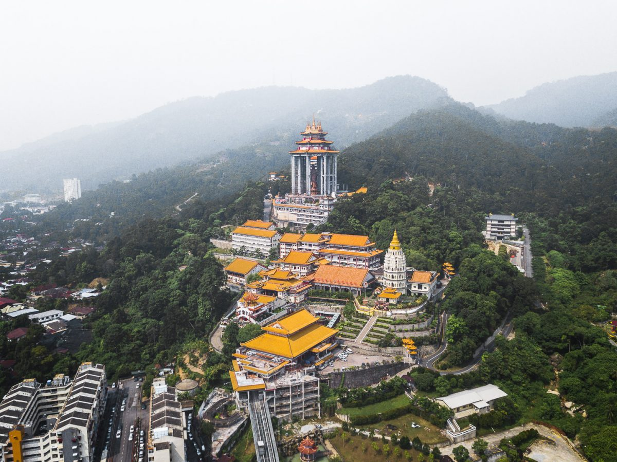 drone shot of the kek lok si temple in penang malaysia