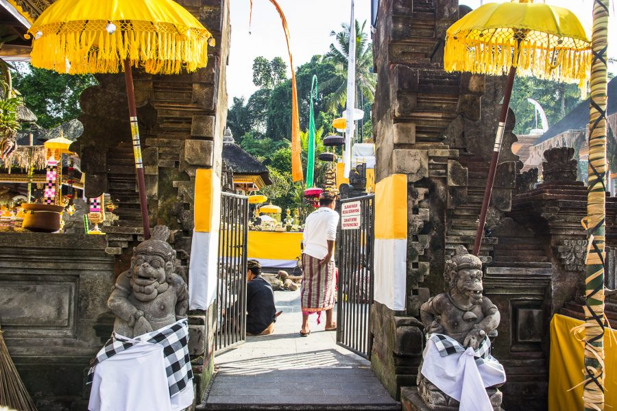 Gate and decorations at the Pura Tirta Empul Temple in Bali