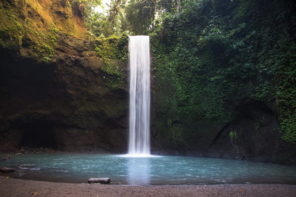tibumana waterfall in ubud bali at sunrise