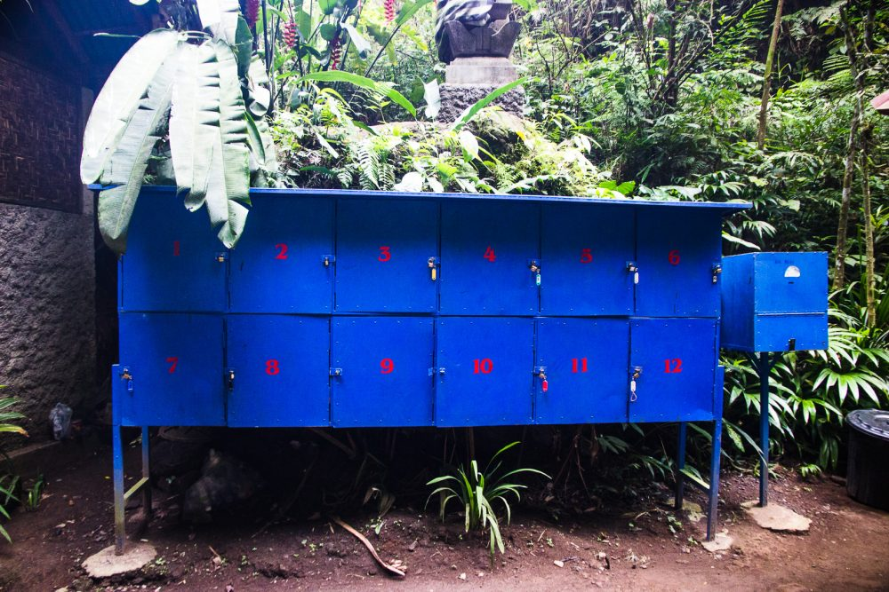 lockers at tibumana waterfall near ubud bali
