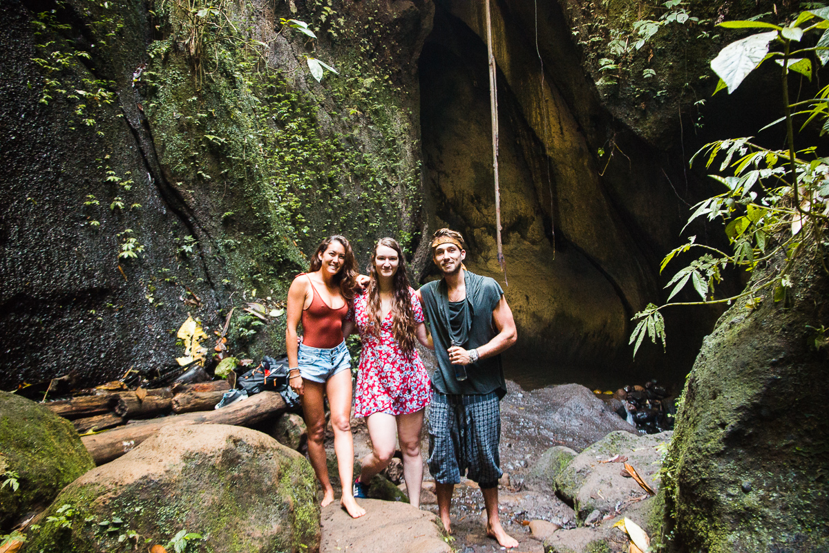 meeting sam kolder and chelsea yamase at the tukad cepung waterfall ubud bali