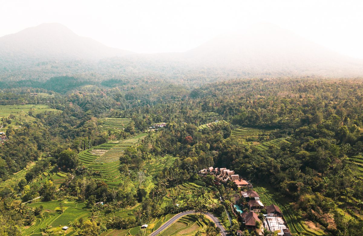 Drone view over the Jatiluwih Rice Terrace in Bali