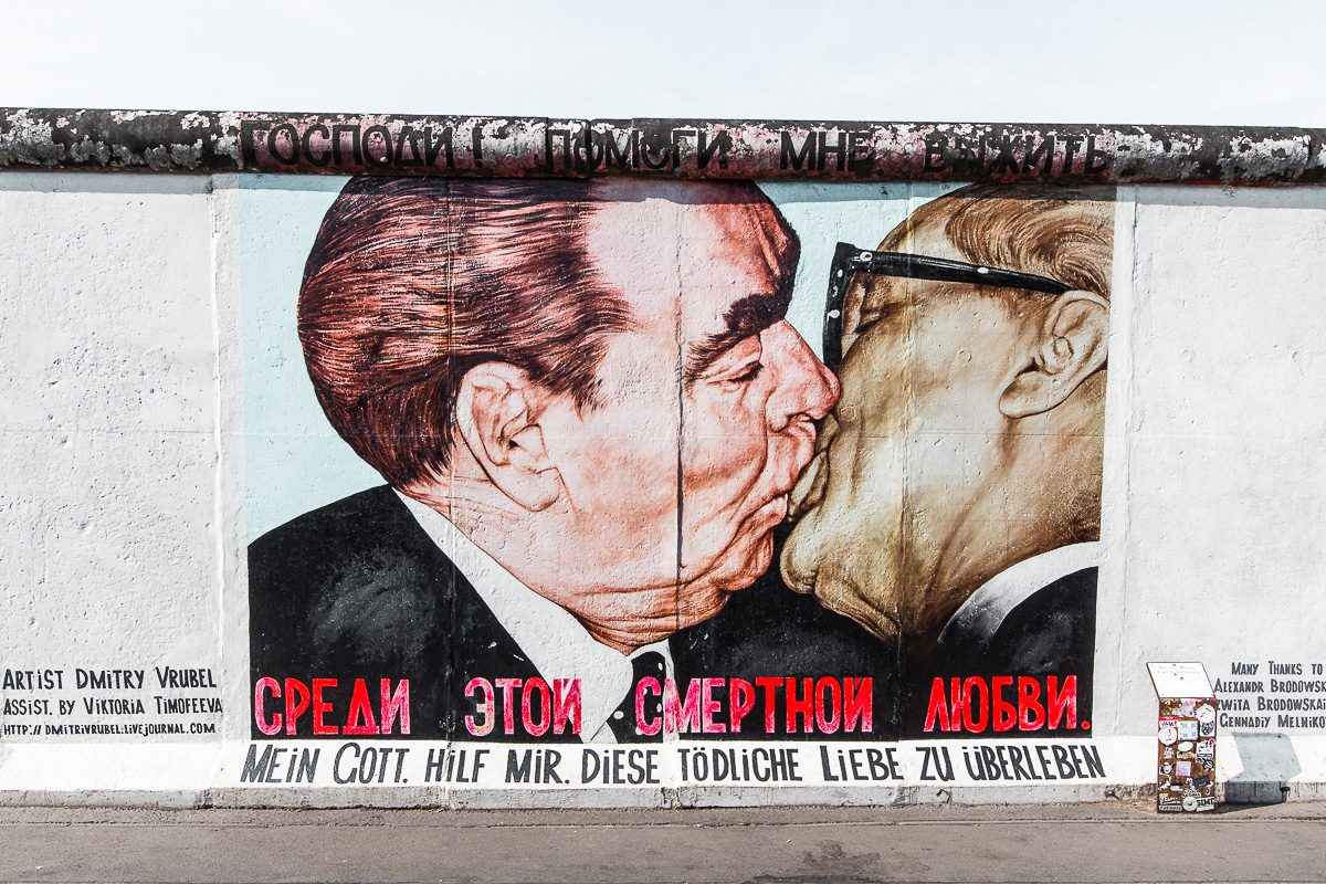 The Fraternal Kiss at the east side gallery in Berlin, a must see during your 4 days in Berlin