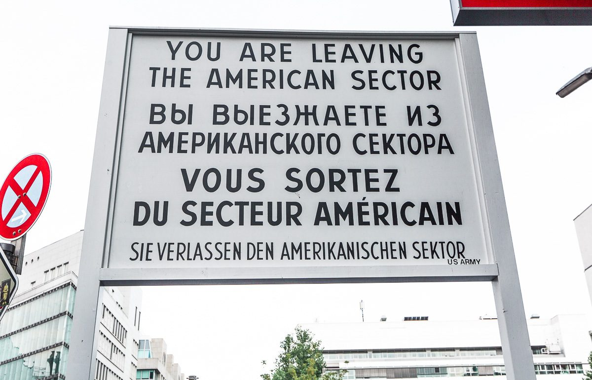 Sign at Checkpoint Charlie in Berlin