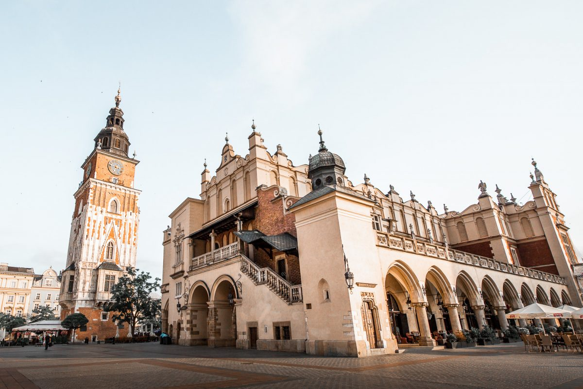 Krakow town hall tower and cloth hall