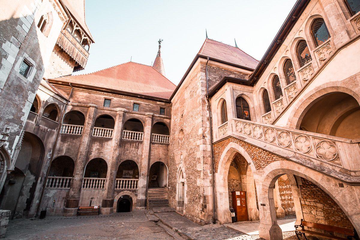 The courtyard of Corvin Castle in Hunedoara, Romania