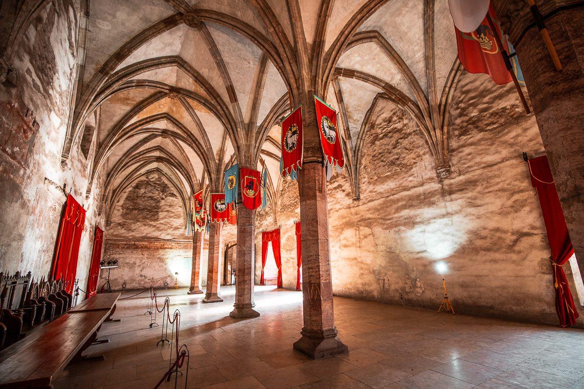 The Knight's Hall in Corvin Castle in Hunedoara, Romania