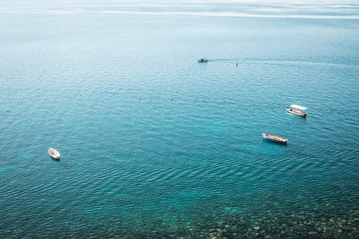 The blue water of Lake Ohrid