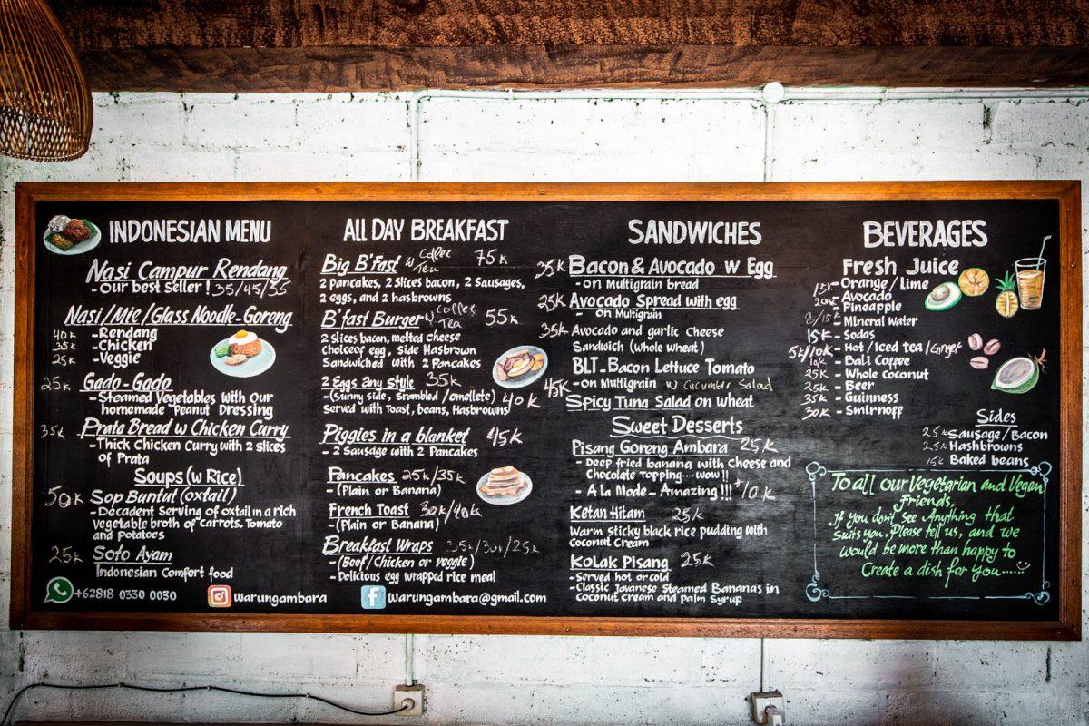 warung ambara menu