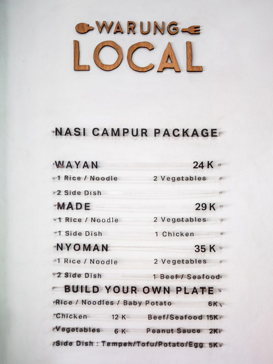 menu from warung local in canggu