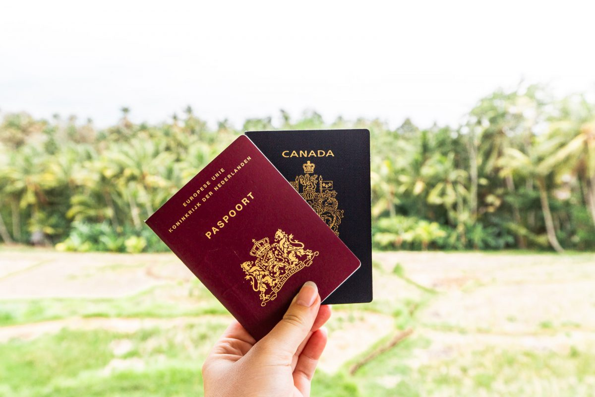 dutch and canadian passport in front of palmtrees in bali