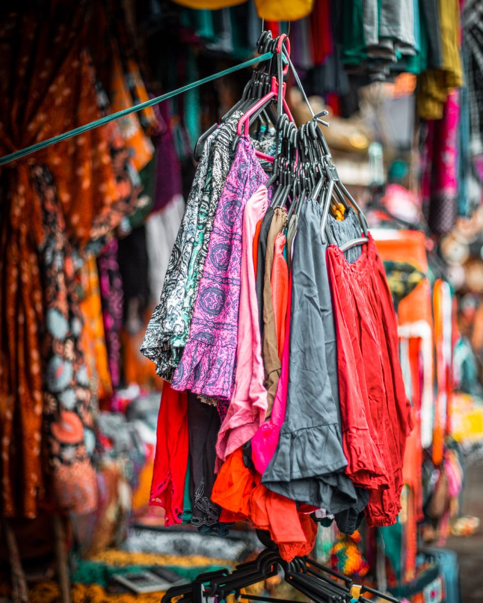 stall selling clothing at the ubud art market