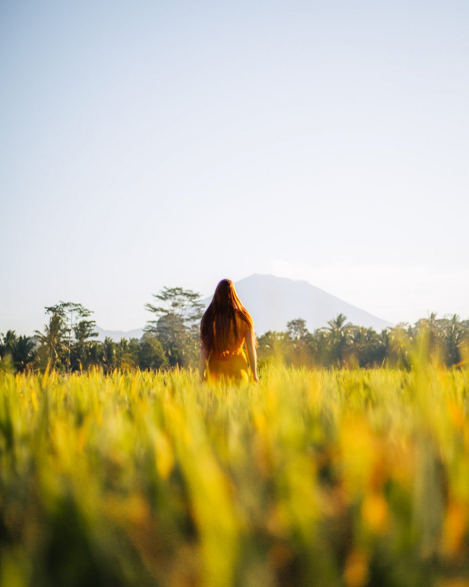 woman standing in the rice fields in ubud with a view over mount batur