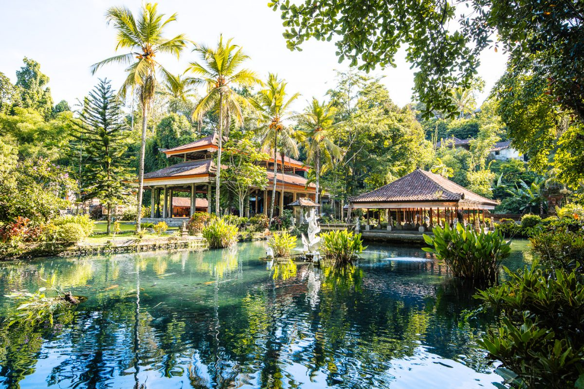 the koi pond at pura gunung kawi sebatu - one of bali's most beautiful temples