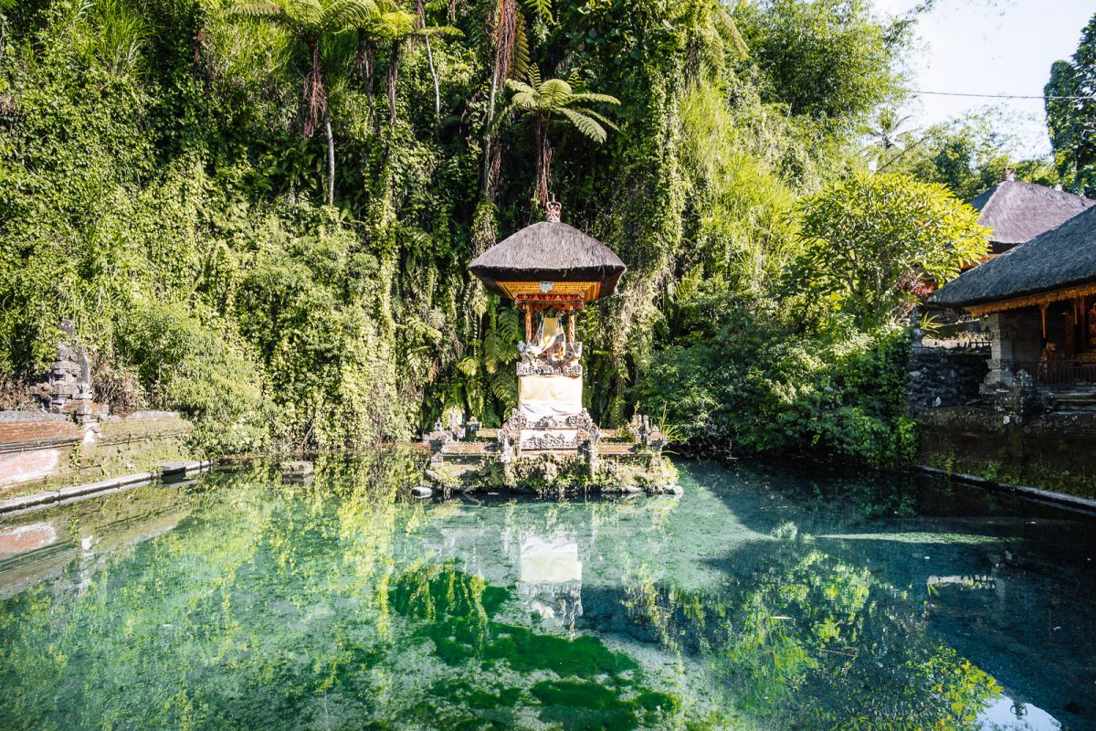 shrine surrounded by a pond filled with holy spring water at pura gunung kawi sebatu - the holy spring temple in ubud