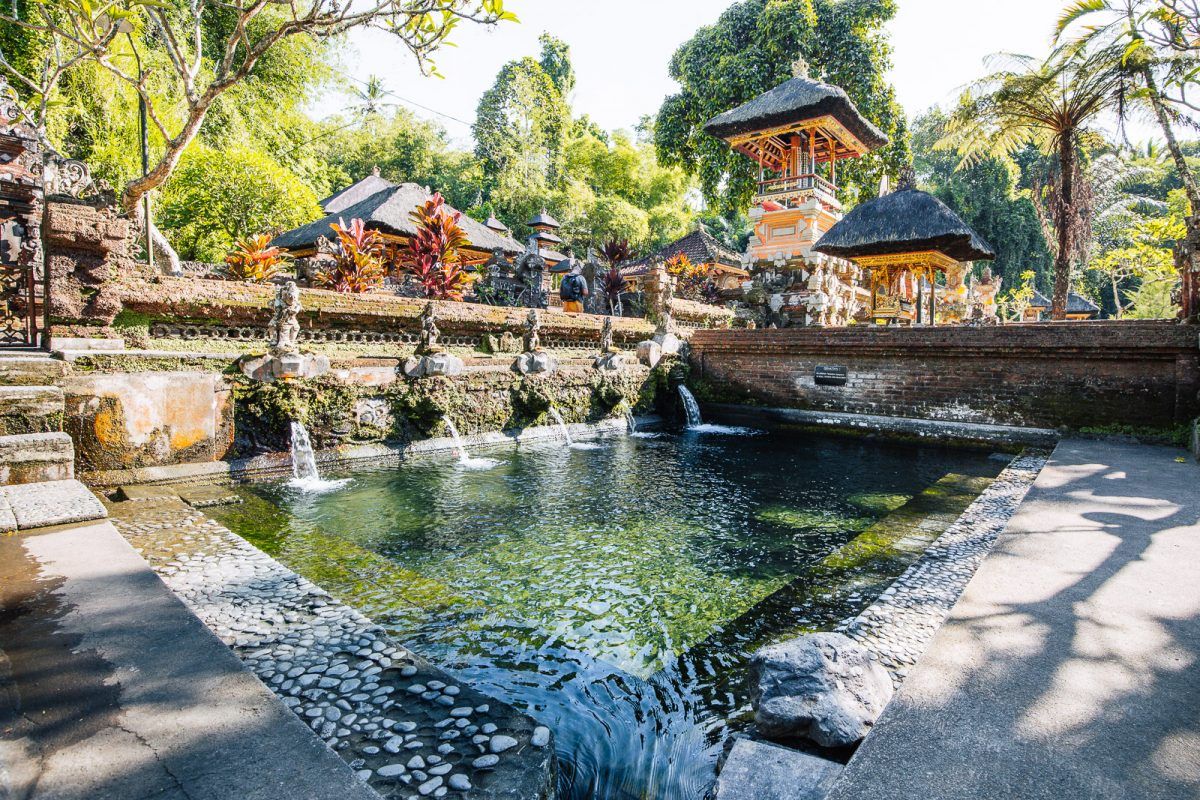 ritual bathing pools at pura gunung kawi sebatu - the holy spring temple in ubud