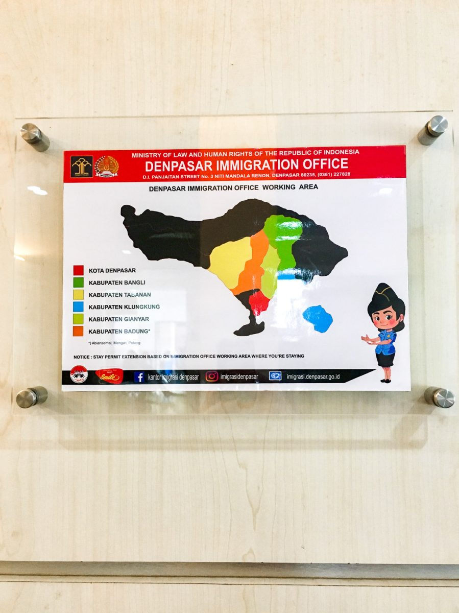 sign with the working areas of the denpasar immigration office