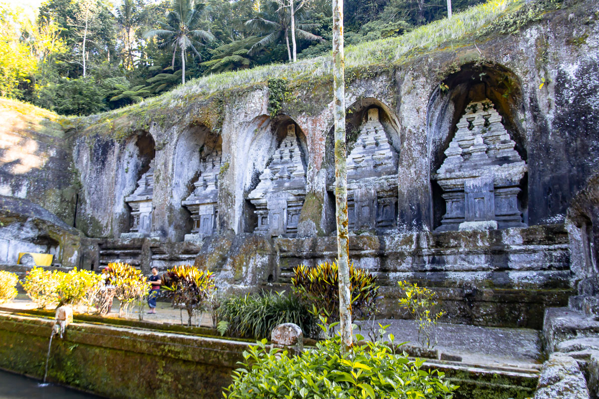 the shrines or candi at pura gunung kawi in ubud