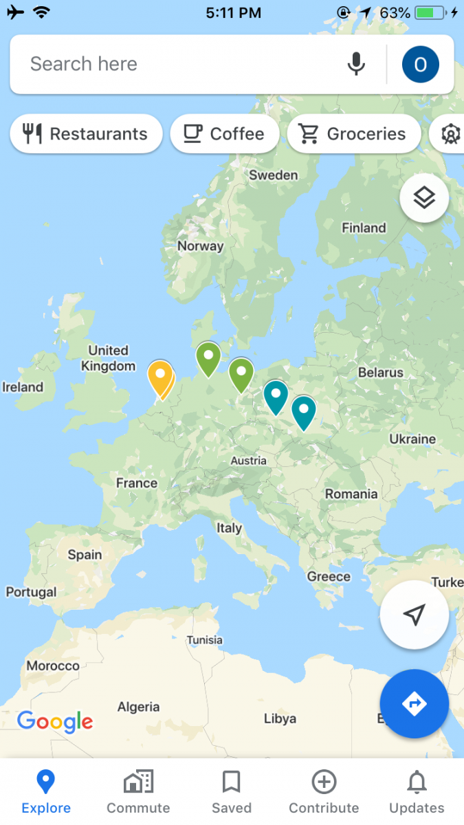 Map of Europe in Google Maps app on iPhone