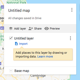 Empty map legend of Google Maps Trip Planner
