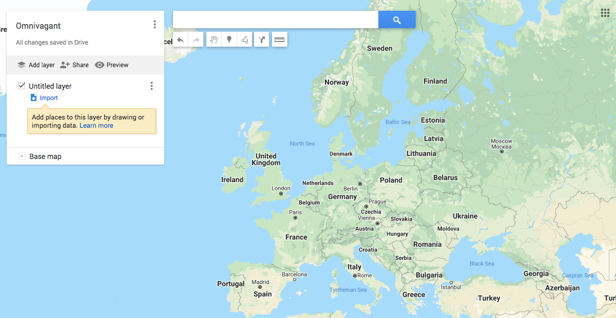 Map of Europe in Google Maps
