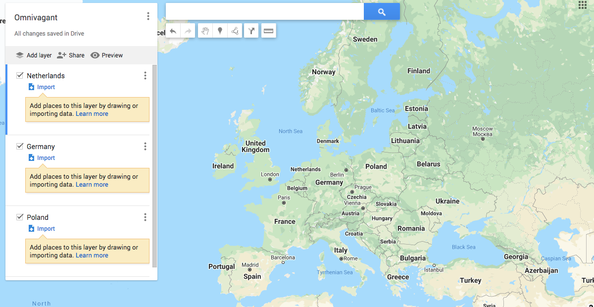 Map of Europe in Google My Maps with three layers created