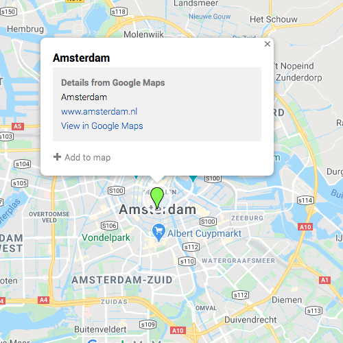 Pin of Amsterdam in Google My Maps