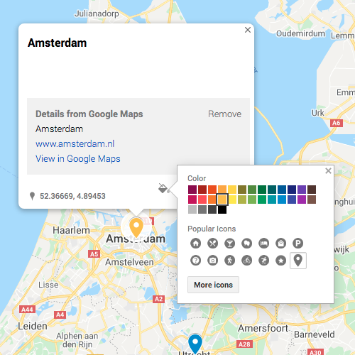 Changing colour of a pin in Google My Map
