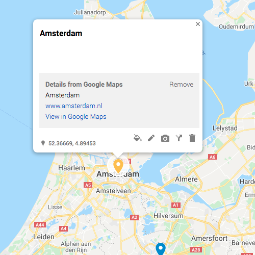 A pin of Amsterdam in Google My Maps