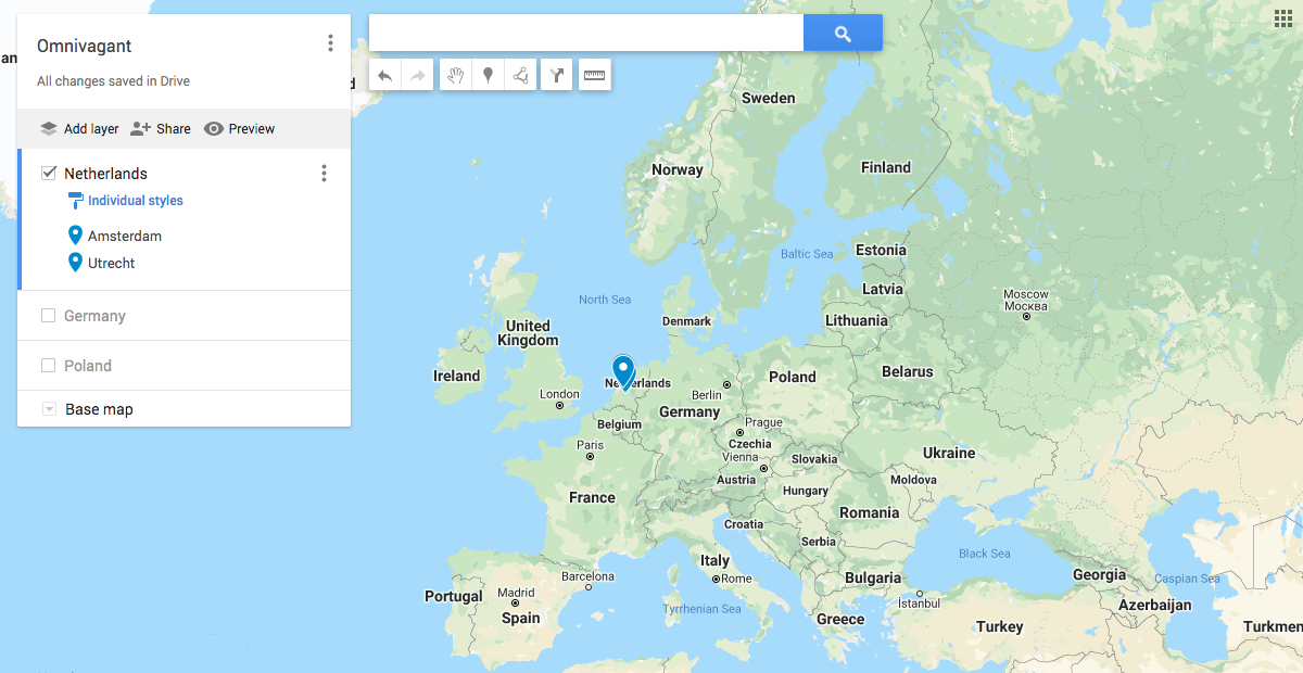 Map of Europe in Google My Maps