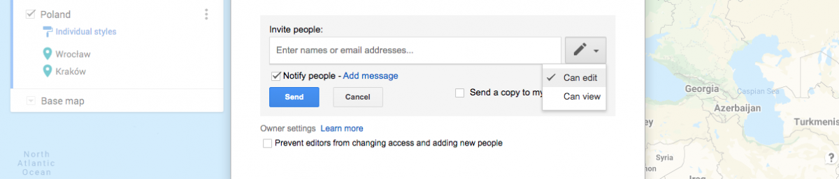 Inviting people through email in Google My Maps