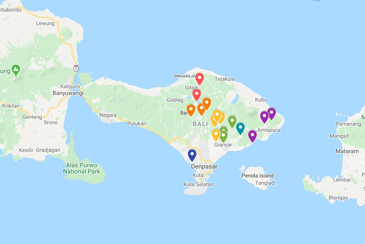 Google Map trip planning: map of Bali with pins of sights in Bali